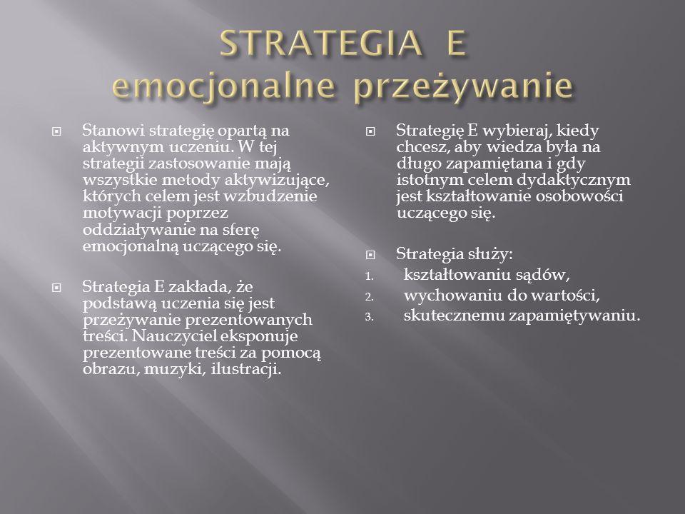 Rozwija umiejętności i nawyki poprzez działanie. Te strategie wykorzystuje się m. in. przy nauczaniu przedmiotów zawodowych. Strategię O wybieraj, kie