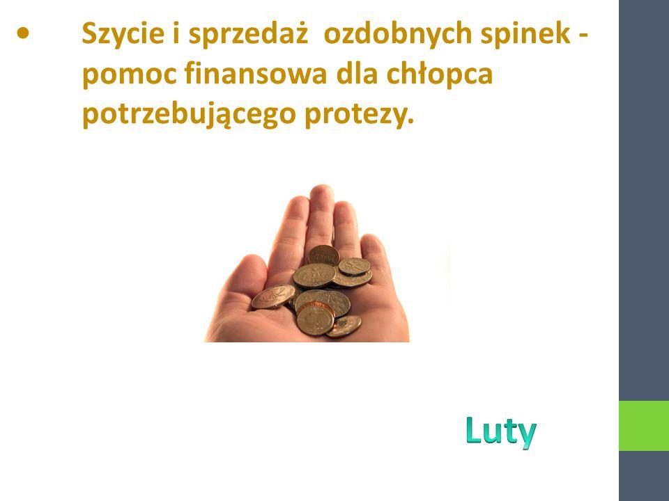 Szycie i sprzedaż ozdobnych spinek - pomoc finansowa dla chłopca potrzebującego protezy.
