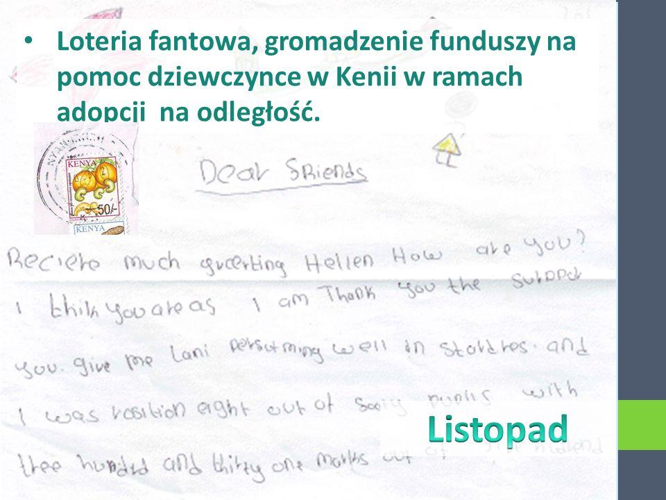 Loteria fantowa, gromadzenie funduszy na pomoc dziewczynce w Kenii w ramach adopcji na odległość.
