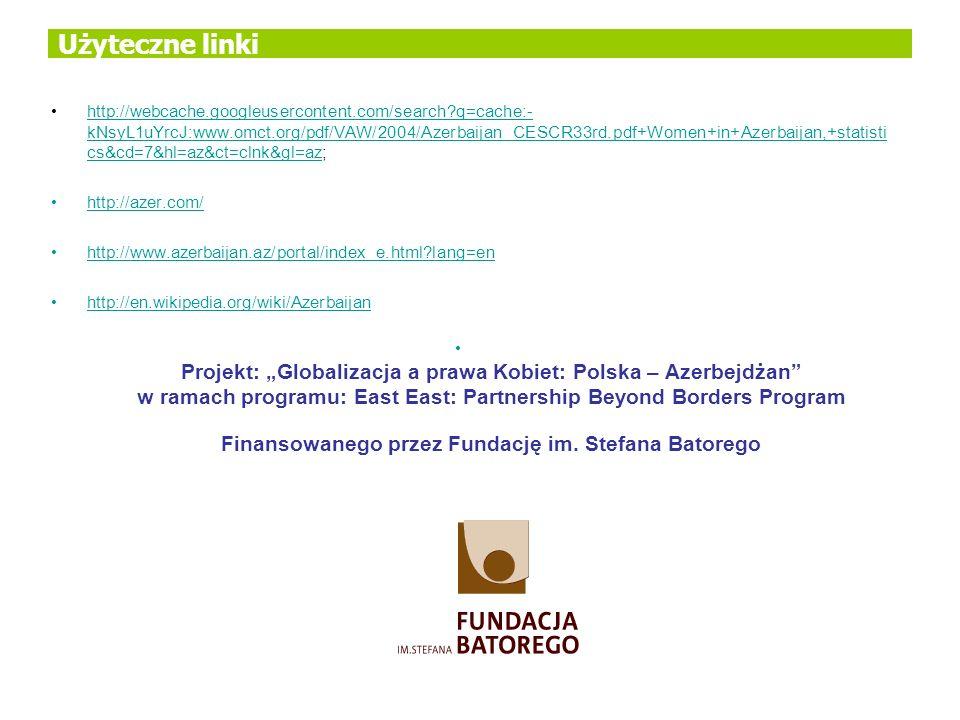 Użyteczne linki http://webcache.googleusercontent.com/search?q=cache:- kNsyL1uYrcJ:www.omct.org/pdf/VAW/2004/Azerbaijan_CESCR33rd.pdf+Women+in+Azerbai