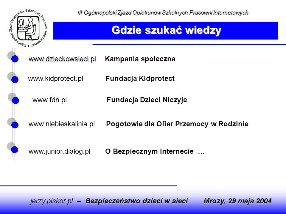 www.junior.dialog.pl O Bezpiecznym Internecie … www.dzieckowsieci.pl www.dzieckowsieci.pl Kampania społeczna www.kidprotect.pl Fundacja Kidprotect www