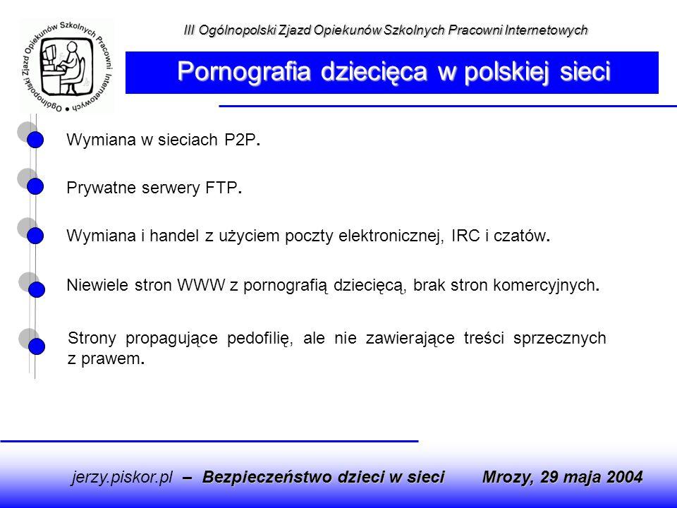 Strony propagujące pedofilię, ale nie zawierające treści sprzecznych z prawem. Wymiana w sieciach P2P. Prywatne serwery FTP. Wymiana i handel z użycie