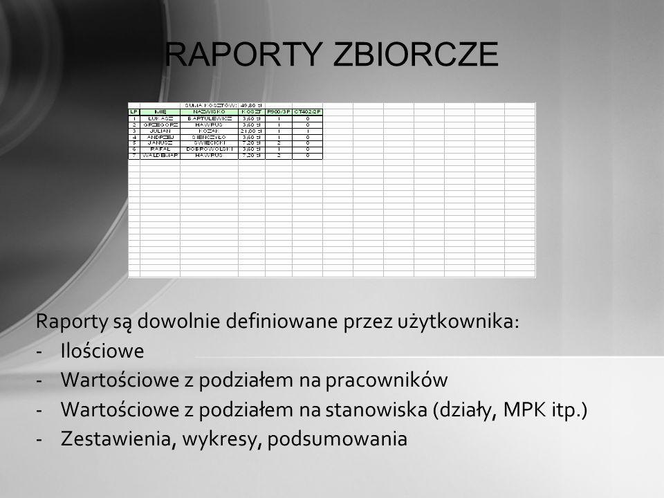 RAPORTY ZBIORCZE Raporty są dowolnie definiowane przez użytkownika: -Ilościowe -Wartościowe z podziałem na pracowników -Wartościowe z podziałem na sta