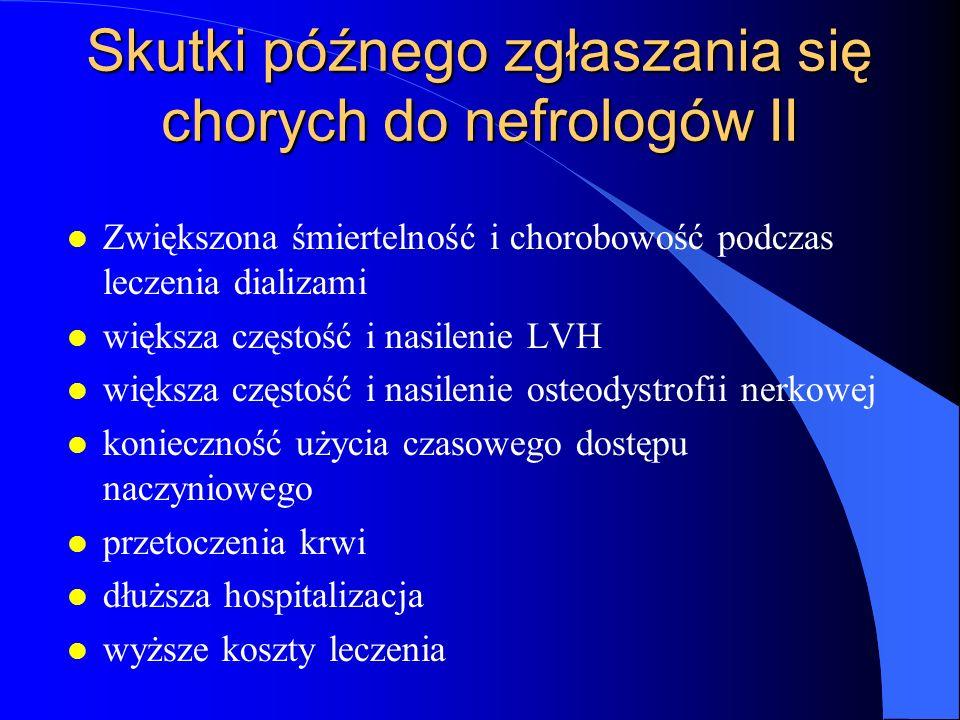 Skutki późnego zgłaszania się chorych do nefrologów II l Zwiększona śmiertelność i chorobowość podczas leczenia dializami l większa częstość i nasilen