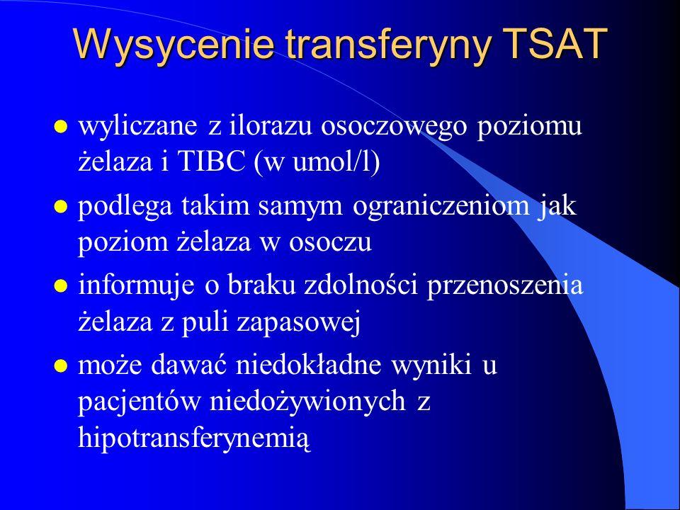Wysycenie transferyny TSAT l wyliczane z ilorazu osoczowego poziomu żelaza i TIBC (w umol/l) l podlega takim samym ograniczeniom jak poziom żelaza w o