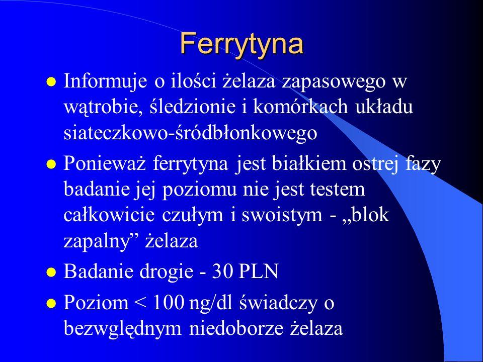 Ferrytyna l Informuje o ilości żelaza zapasowego w wątrobie, śledzionie i komórkach układu siateczkowo-śródbłonkowego l Ponieważ ferrytyna jest białki