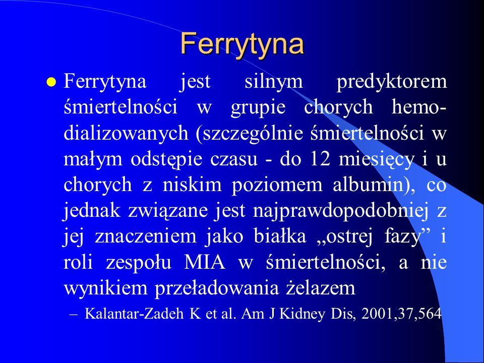 Ferrytyna l Ferrytyna jest silnym predyktorem śmiertelności w grupie chorych hemo- dializowanych (szczególnie śmiertelności w małym odstępie czasu - d