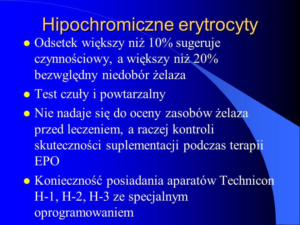 Hipochromiczne erytrocyty l Odsetek większy niż 10% sugeruje czynnościowy, a większy niż 20% bezwględny niedobór żelaza l Test czuły i powtarzalny l N