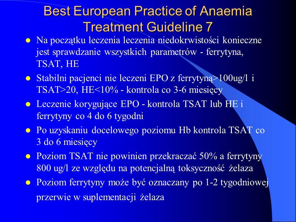 Best European Practice of Anaemia Treatment Guideline 7 l Na początku leczenia leczenia niedokrwistości konieczne jest sprawdzanie wszystkich parametr
