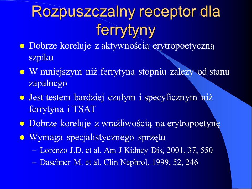 Rozpuszczalny receptor dla ferrytyny l Dobrze koreluje z aktywnością erytropoetyczną szpiku l W mniejszym niż ferrytyna stopniu zależy od stanu zapaln