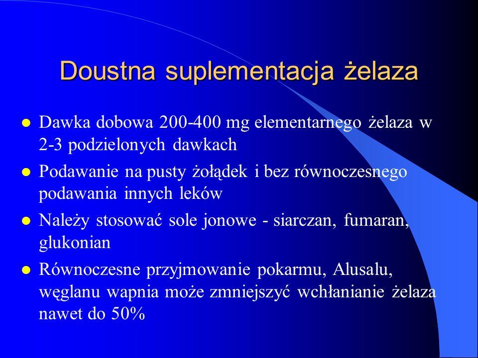 Doustna suplementacja żelaza l Dawka dobowa 200-400 mg elementarnego żelaza w 2-3 podzielonych dawkach l Podawanie na pusty żołądek i bez równoczesneg