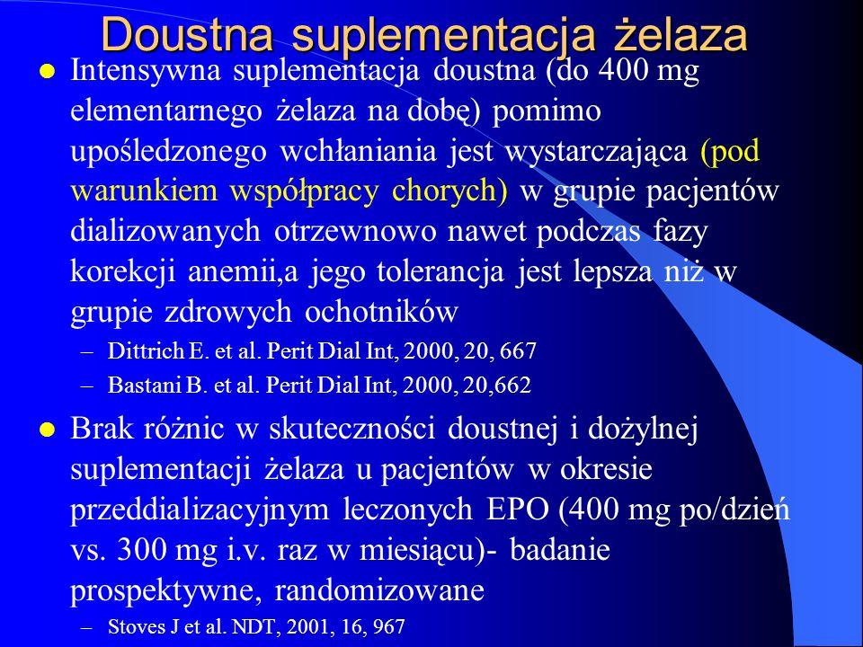 Doustna suplementacja żelaza l Intensywna suplementacja doustna (do 400 mg elementarnego żelaza na dobę) pomimo upośledzonego wchłaniania jest wystarc