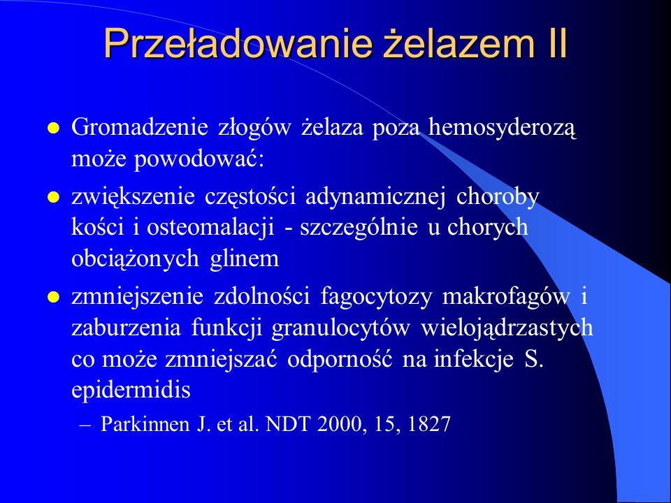 Przeładowanie żelazem II l Gromadzenie złogów żelaza poza hemosyderozą może powodować: l zwiększenie częstości adynamicznej choroby kości i osteomalac