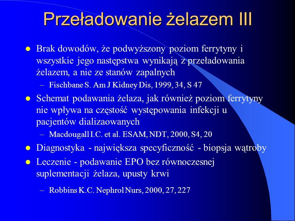Przeładowanie żelazem III l Brak dowodów, że podwyższony poziom ferrytyny i wszystkie jego następstwa wynikają z przeładowania żelazem, a nie ze stanó