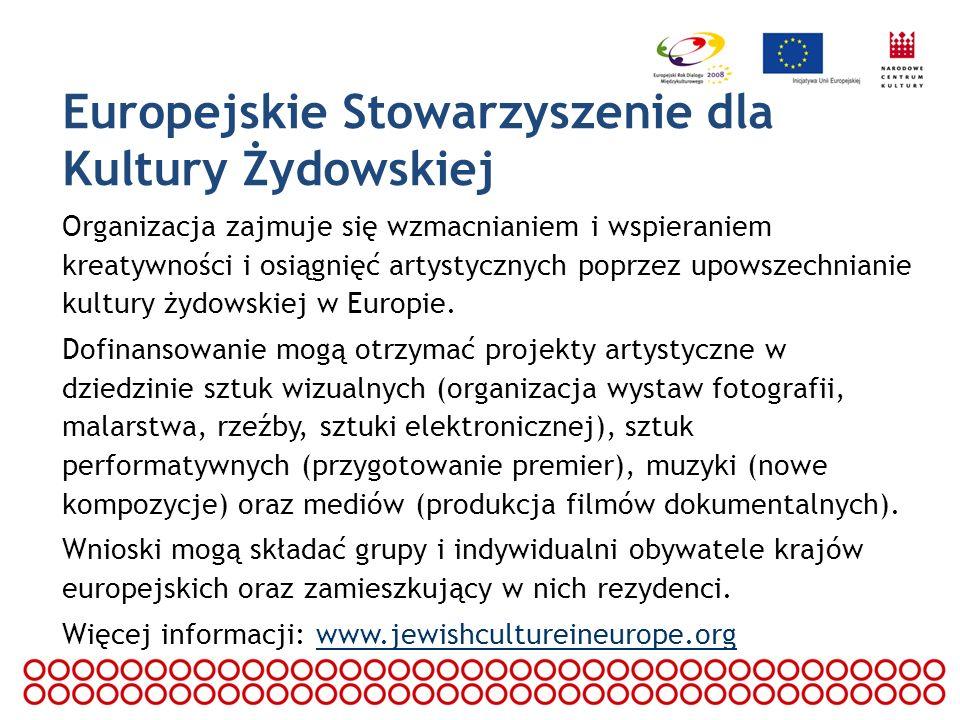 Program Wspólnotowy Kultura 2007 – 2013 Celem Programu jest wzmocnienie przestrzeni kulturowej wspólnej dla Europejczyków, opartej na wspólnym dziedzictwie kulturowym oraz rozwój współpracy pomiędzy twórcami, uczestnikami życia kulturalnego oraz instytucjami kulturalnymi.