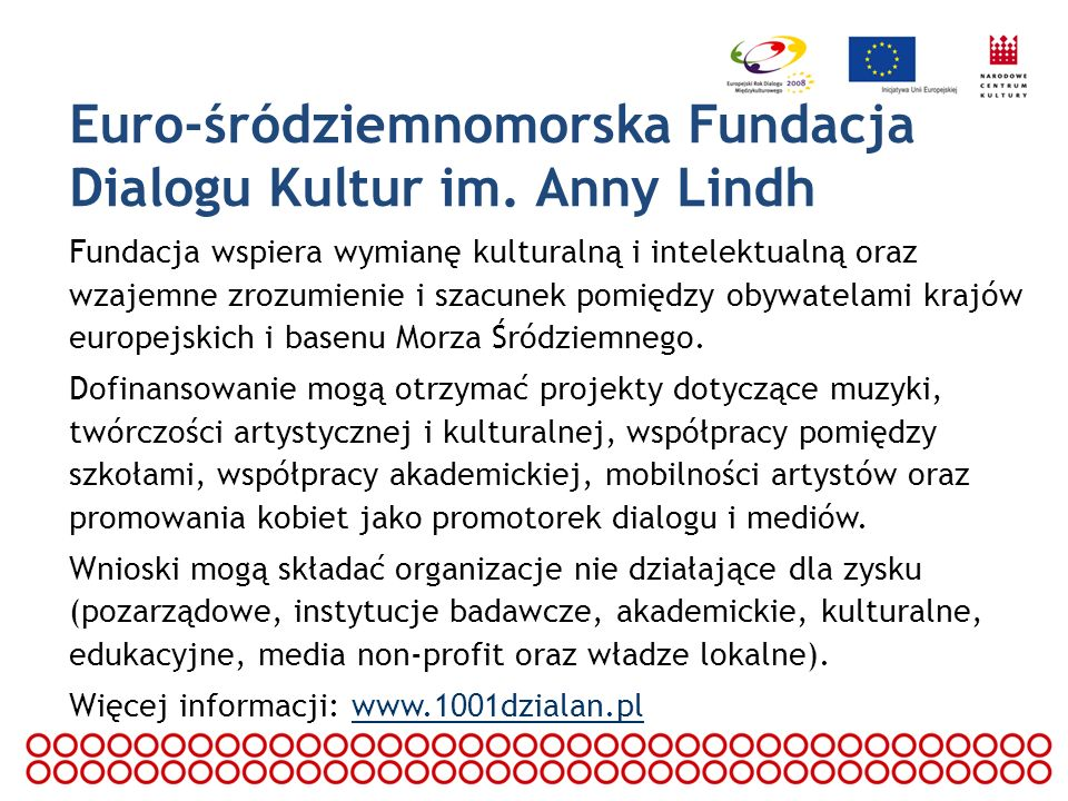 Program Wspólnotowy Młodzież w Działaniu Celem programu jest przezwyciężanie uprzedzeń i stereotypów zakorzenionych w mentalności młodych ludzi; przygotowanie młodzieży do aktywnego uczestnictwa w życiu społecznym państw europejskich; rozwijanie osobowości młodych ludzi oraz zwiększanie udziału w życiu społecznym młodzieży z mniejszymi szansami.
