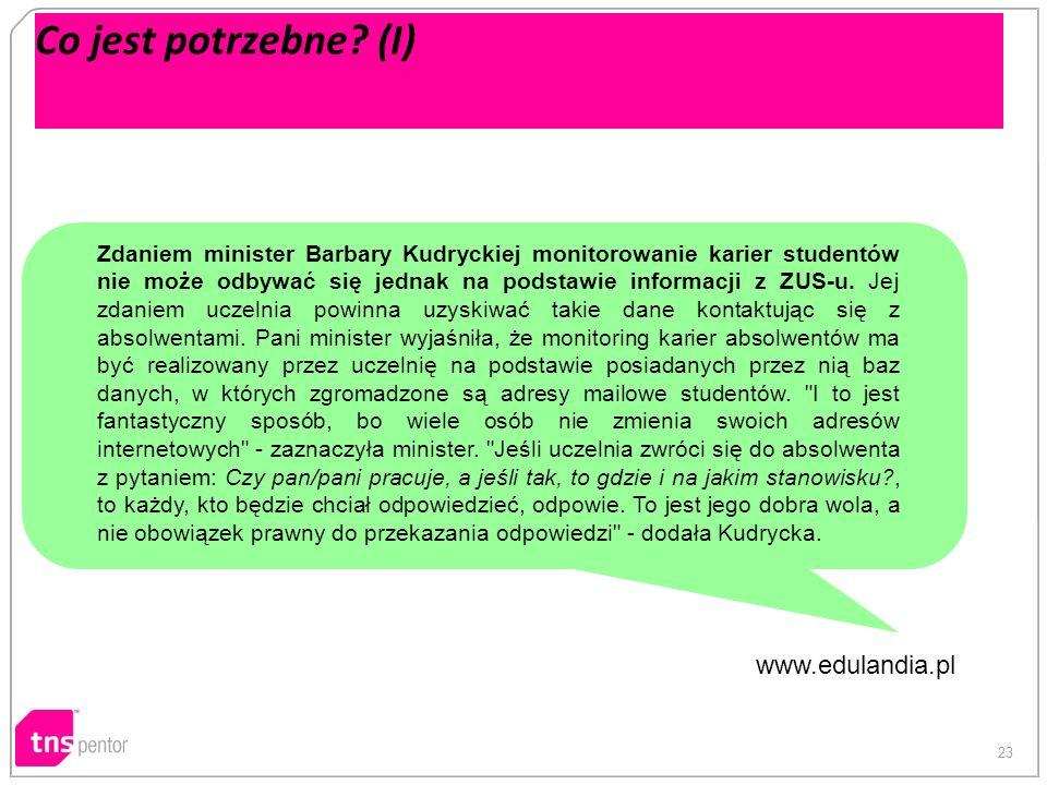 23 Co jest potrzebne? (I) Zdaniem minister Barbary Kudryckiej monitorowanie karier studentów nie może odbywać się jednak na podstawie informacji z ZUS