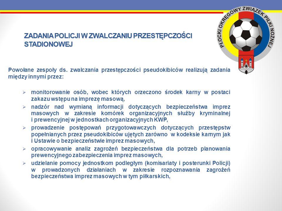 ZADANIA POLICJI W ZWALCZANIU PRZESTĘPCZOŚCI STADIONOWEJ Powołane zespoły ds. zwalczania przestępczości pseudokibiców realizują zadania między innymi p