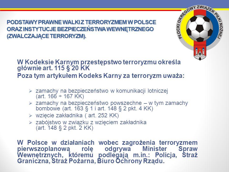 PODSTAWY PRAWNE WALKI Z TERRORYZMEM W POLSCE ORAZ INSTYTUCJE BEZPIECZEŃSTWA WEWNĘTRZNEGO (ZWALCZAJĄCE TERRORYZM). W Kodeksie Karnym przestępstwo terro