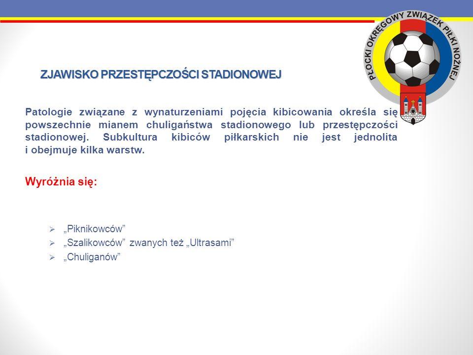 ZJAWISKO PRZESTĘPCZOŚCI STADIONOWEJ Piknikowcy Sympatycy piłki nożnej przychodzący na mecze wyłącznie w celu oglądania widowiska sportowego.