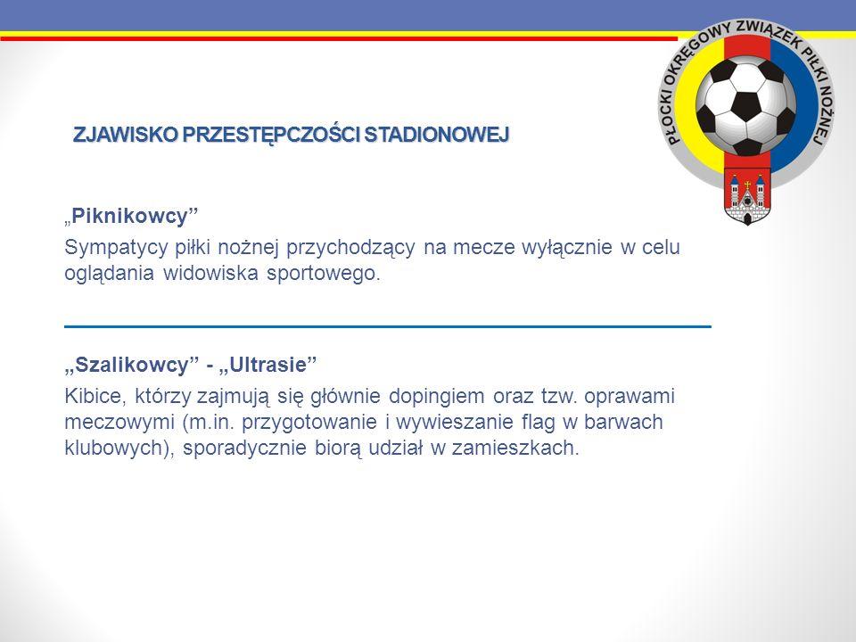 ZJAWISKO PRZESTĘPCZOŚCI STADIONOWEJ Piknikowcy Sympatycy piłki nożnej przychodzący na mecze wyłącznie w celu oglądania widowiska sportowego. Szalikowc