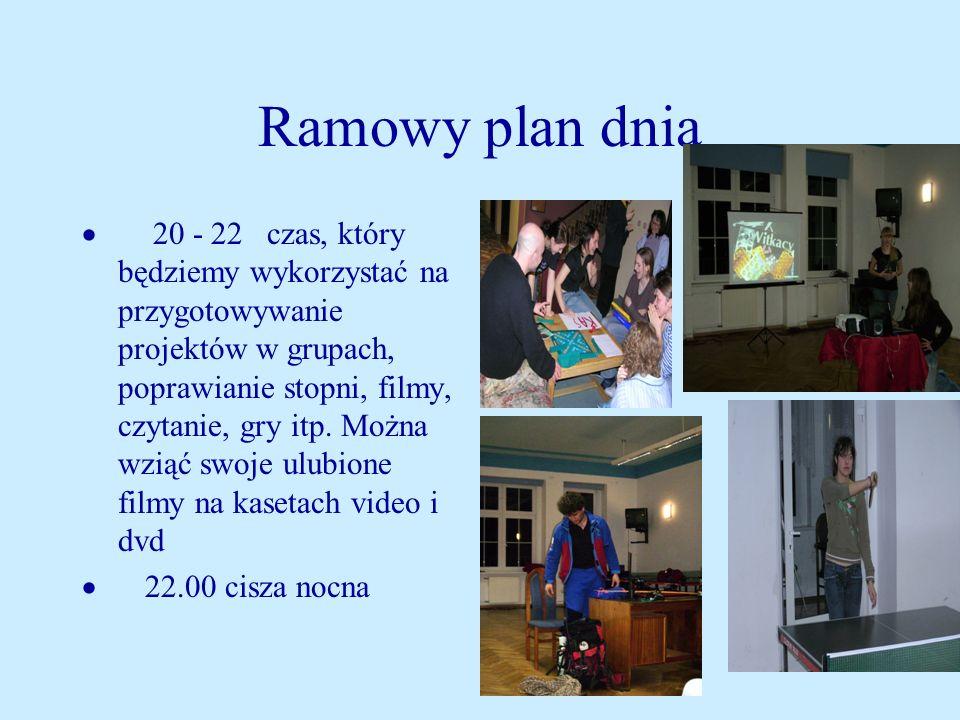 Ramowy plan dnia 20 - 22 czas, który będziemy wykorzystać na przygotowywanie projektów w grupach, poprawianie stopni, filmy, czytanie, gry itp.