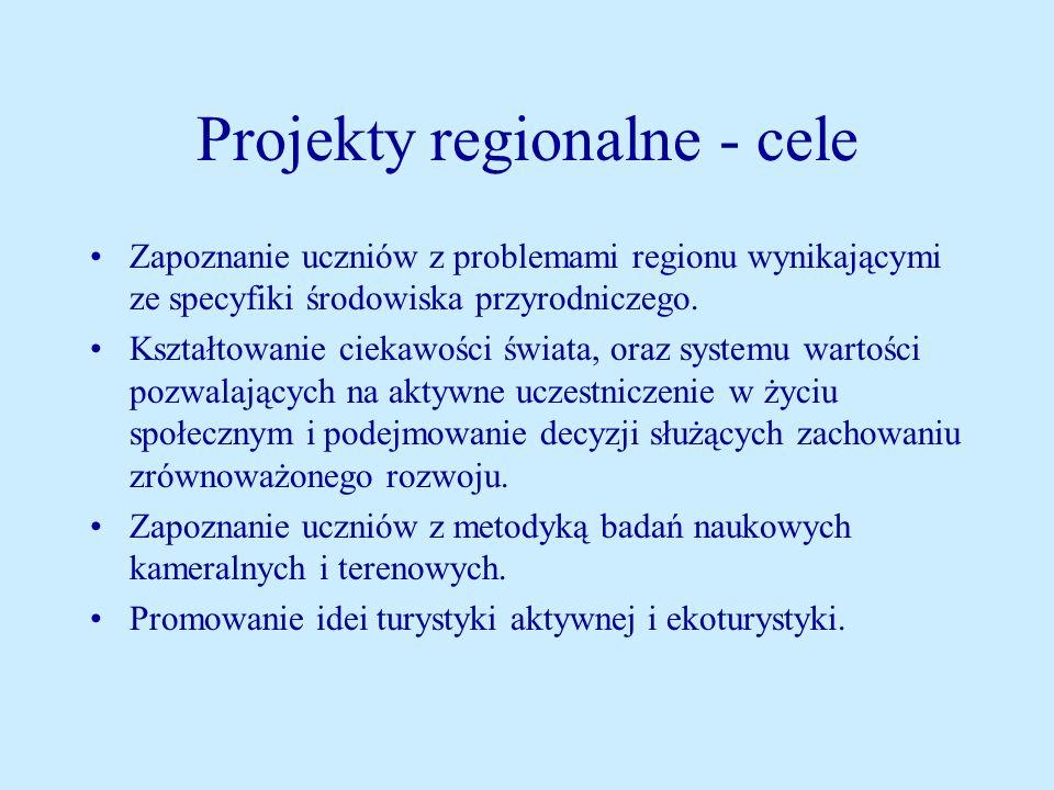 Projekty regionalne - cele Zapoznanie uczniów z problemami regionu wynikającymi ze specyfiki środowiska przyrodniczego.