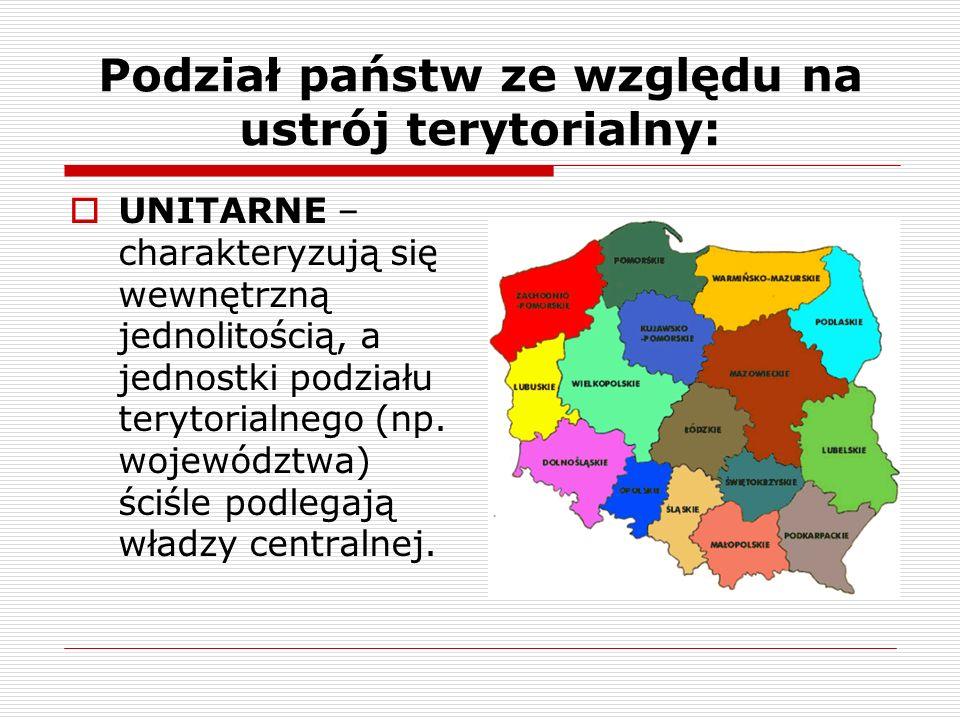 Podział państw ze względu na ustrój terytorialny: UNITARNE – charakteryzują się wewnętrzną jednolitością, a jednostki podziału terytorialnego (np. woj