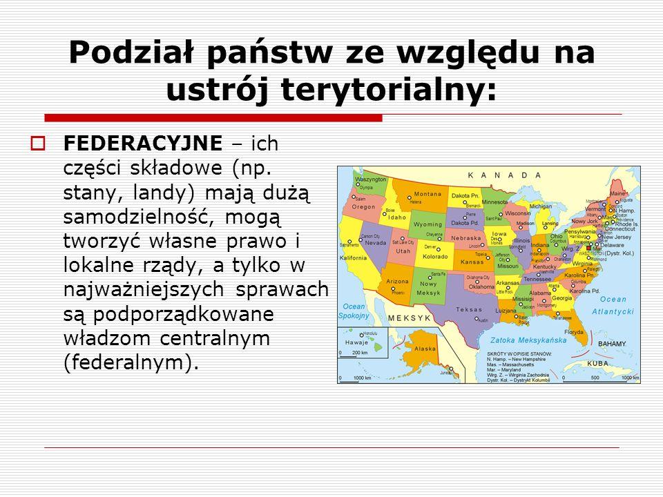 Podział państw ze względu na ustrój terytorialny: FEDERACYJNE – ich części składowe (np. stany, landy) mają dużą samodzielność, mogą tworzyć własne pr