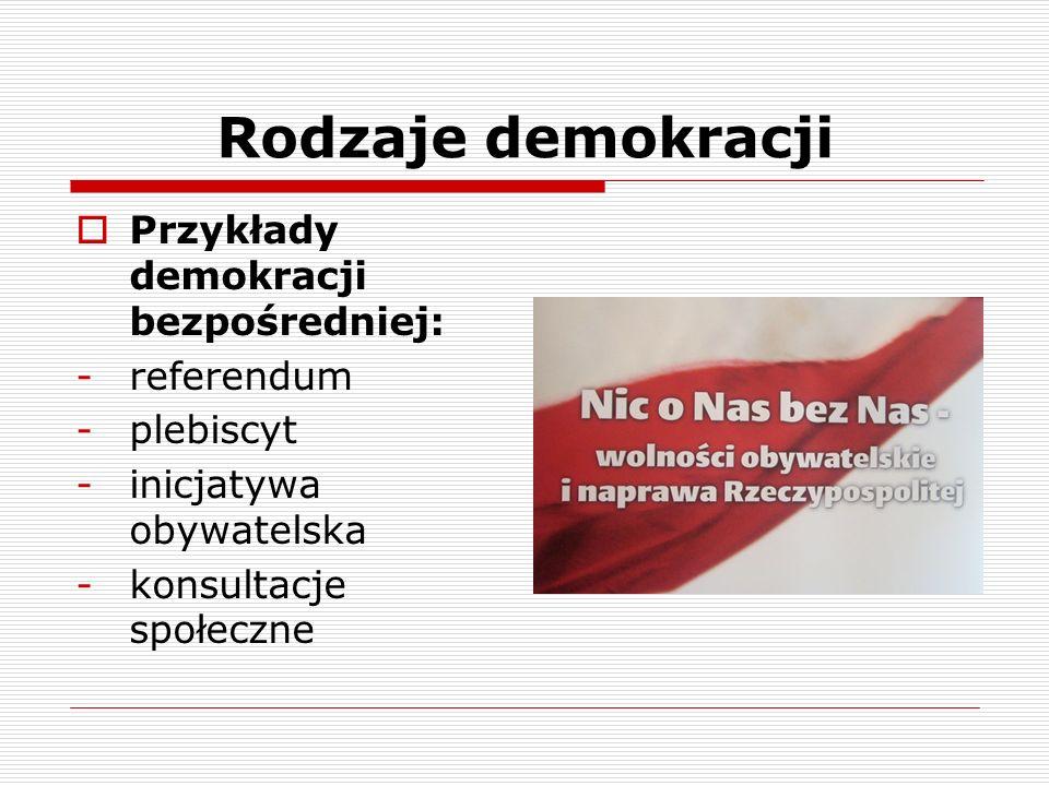 Rodzaje demokracji Przykłady demokracji bezpośredniej: -referendum -plebiscyt -inicjatywa obywatelska -konsultacje społeczne