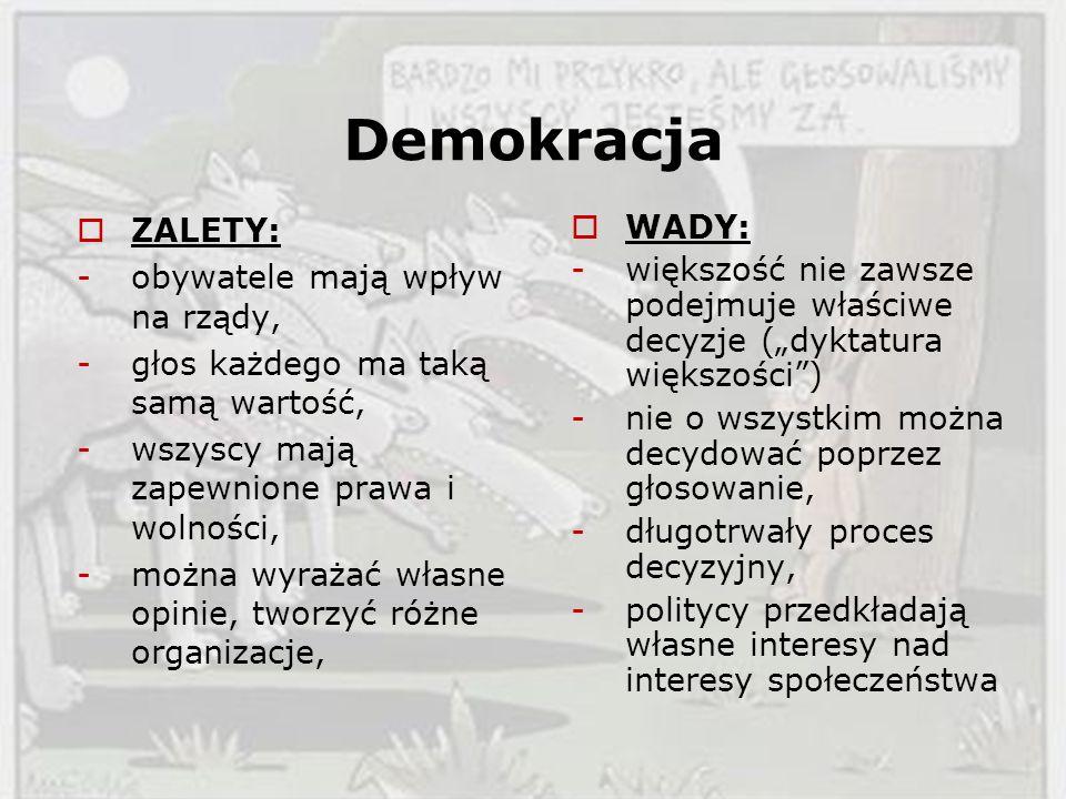 Demokracja ZALETY: -obywatele mają wpływ na rządy, -głos każdego ma taką samą wartość, -wszyscy mają zapewnione prawa i wolności, -można wyrażać własn
