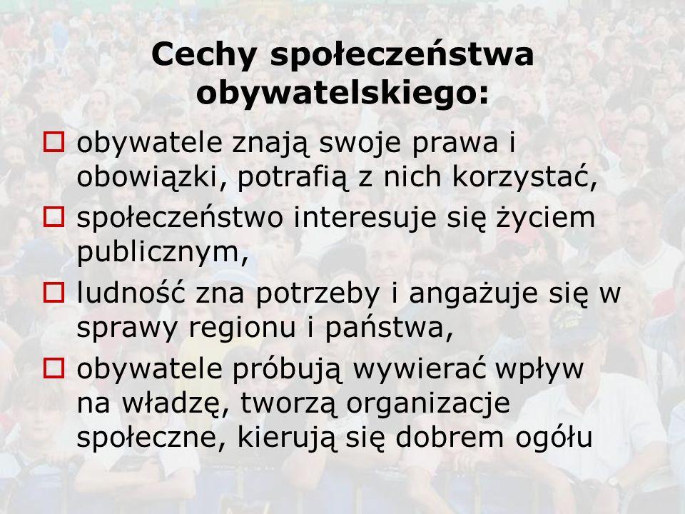 Cechy społeczeństwa obywatelskiego: obywatele znają swoje prawa i obowiązki, potrafią z nich korzystać, społeczeństwo interesuje się życiem publicznym