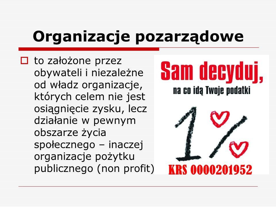 Organizacje pozarządowe to założone przez obywateli i niezależne od władz organizacje, których celem nie jest osiągnięcie zysku, lecz działanie w pewn