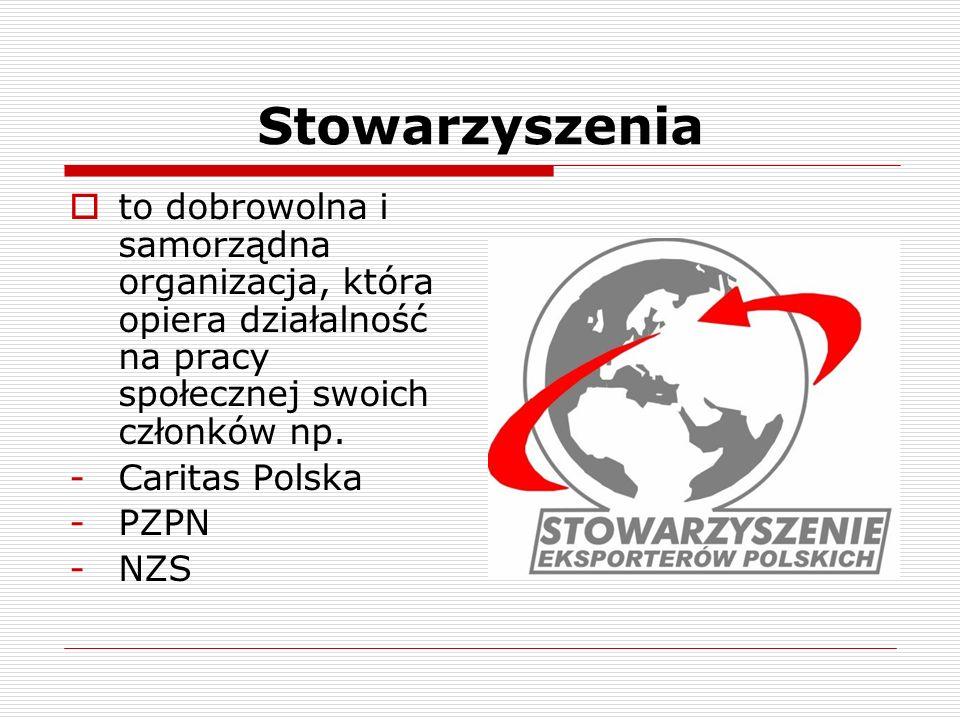 Stowarzyszenia to dobrowolna i samorządna organizacja, która opiera działalność na pracy społecznej swoich członków np. -Caritas Polska -PZPN -NZS