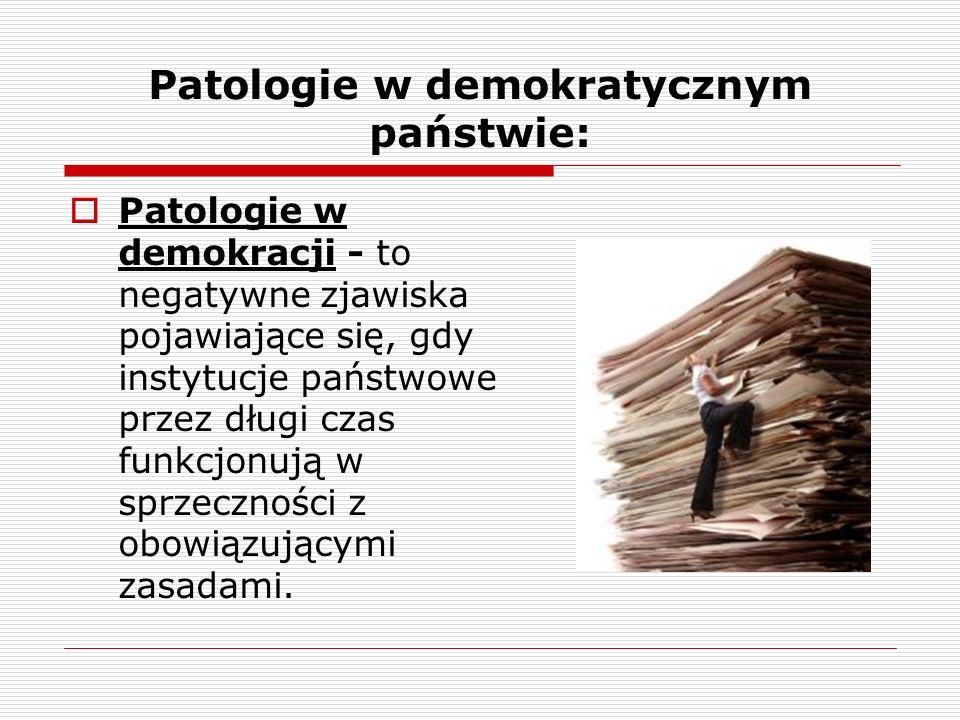 Patologie w demokratycznym państwie: Patologie w demokracji - to negatywne zjawiska pojawiające się, gdy instytucje państwowe przez długi czas funkcjo