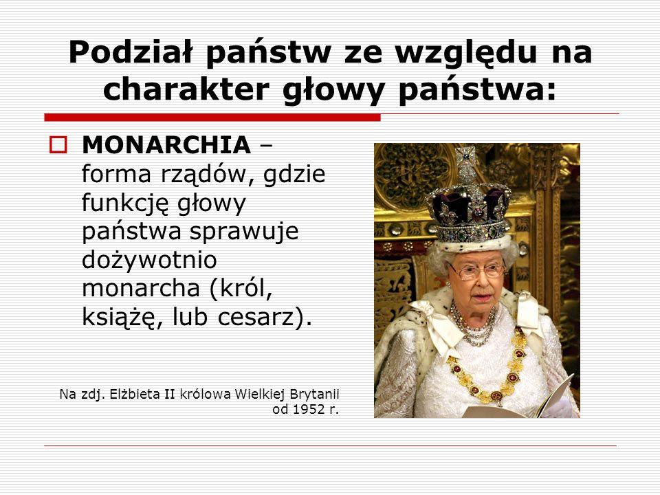 Podział państw ze względu na charakter głowy państwa: MONARCHIA – forma rządów, gdzie funkcję głowy państwa sprawuje dożywotnio monarcha (król, książę