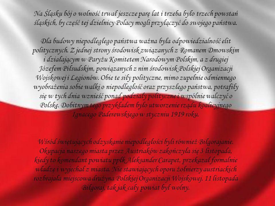 Na Śląsku bój o wolność trwał jeszcze parę lat i trzeba było trzech powstań śląskich, by część tej dzielnicy Polacy mogli przyłączyć do swojego państw