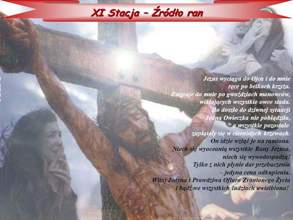 XI Stacja – Źródło ran Jezus wyciąga do Ojca i do mnie ręce po belkach krzyża. Zstępuje do mnie po gwoździach manowców, wikłających wszystkie owce sta
