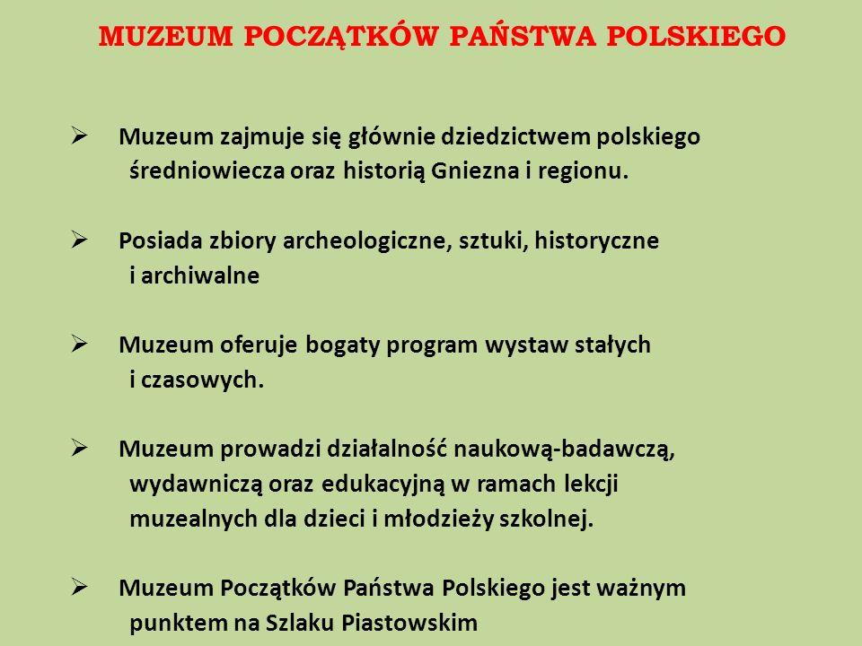 Muzeum zajmuje się głównie dziedzictwem polskiego średniowiecza oraz historią Gniezna i regionu. Posiada zbiory archeologiczne, sztuki, historyczne i