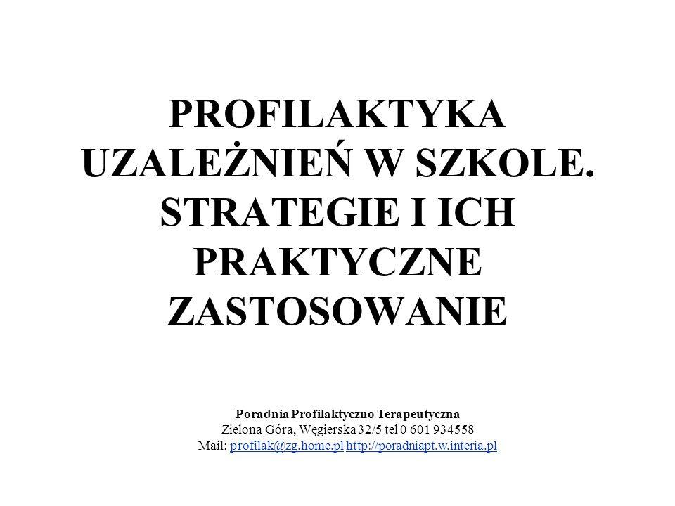 PROFILAKTYKA UZALEŻNIEŃ W SZKOLE. STRATEGIE I ICH PRAKTYCZNE ZASTOSOWANIE Poradnia Profilaktyczno Terapeutyczna Zielona Góra, Węgierska 32/5 tel 0 601