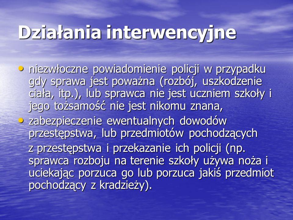 Działania interwencyjne niezwłoczne powiadomienie policji w przypadku gdy sprawa jest poważna (rozbój, uszkodzenie ciała, itp.), lub sprawca nie jest