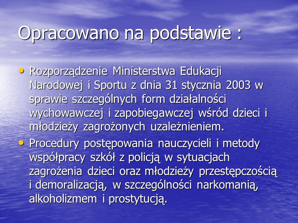 Opracowano na podstawie : Rozporządzenie Ministerstwa Edukacji Narodowej i Sportu z dnia 31 stycznia 2003 w sprawie szczególnych form działalności wyc