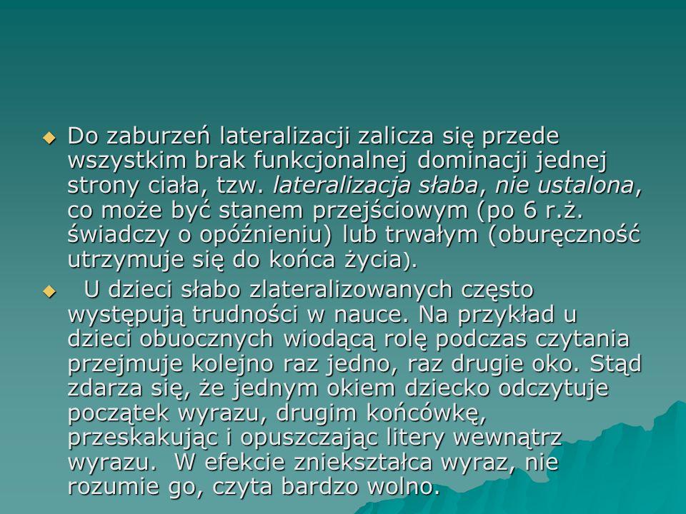 Do zaburzeń lateralizacji zalicza się przede wszystkim brak funkcjonalnej dominacji jednej strony ciała, tzw. lateralizacja słaba, nie ustalona, co mo