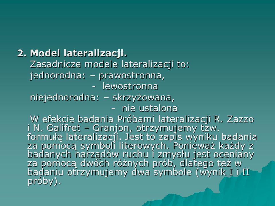 2. Model lateralizacji. Zasadnicze modele lateralizacji to: Zasadnicze modele lateralizacji to: jednorodna: – prawostronna, jednorodna: – prawostronna