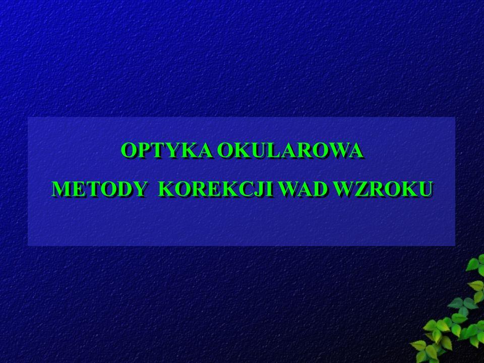 TEST CZERWONO-ZIELONY-ZASADY Oko z emetropią przy widzeniu fotopowym jast najbardziej wrażliwe na fale o długości 555nm (światło żółte) W stanie emmetropii symbole na czerwonym i zielonym polu widziane są jednakowo ostro.