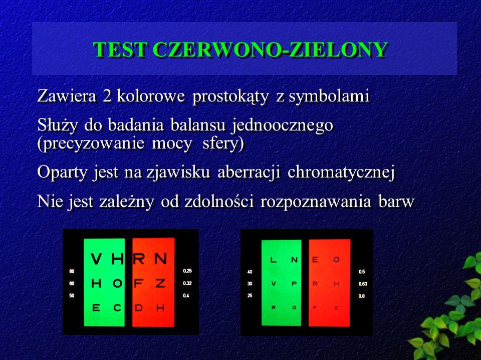 TEST CZERWONO-ZIELONY Zawiera 2 kolorowe prostokąty z symbolami Służy do badania balansu jednoocznego (precyzowanie mocy sfery) Oparty jest na zjawisk