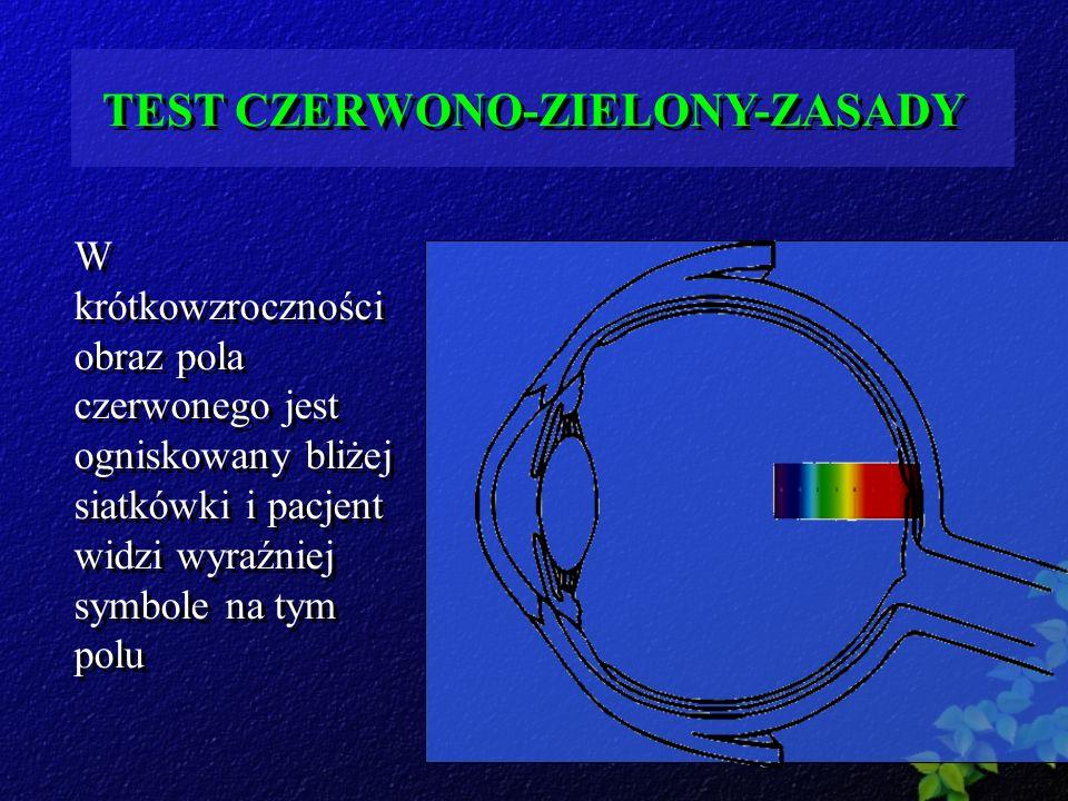 TEST CZERWONO-ZIELONY-ZASADY W krótkowzroczności obraz pola czerwonego jest ogniskowany bliżej siatkówki i pacjent widzi wyraźniej symbole na tym polu