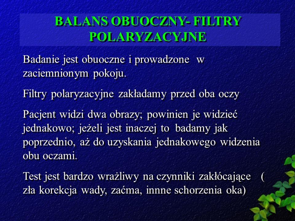 BALANS OBUOCZNY- FILTRY POLARYZACYJNE Badanie jest obuoczne i prowadzone w zaciemnionym pokoju. Filtry polaryzacyjne zakładamy przed oba oczy Pacjent