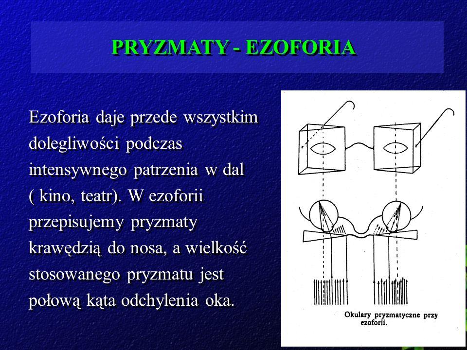 PRYZMATY - EZOFORIA Ezoforia daje przede wszystkim dolegliwości podczas intensywnego patrzenia w dal ( kino, teatr). W ezoforii przepisujemy pryzmaty