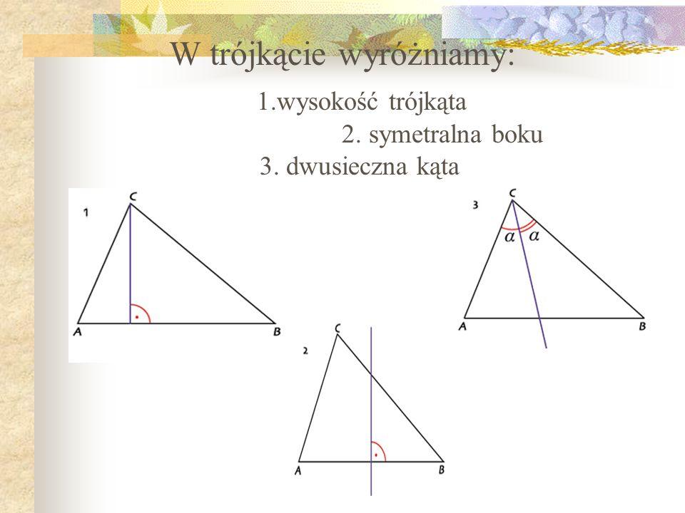 W trójkącie wyróżniamy: 1.wysokość trójkąta 2. symetralna boku 3. dwusieczna kąta